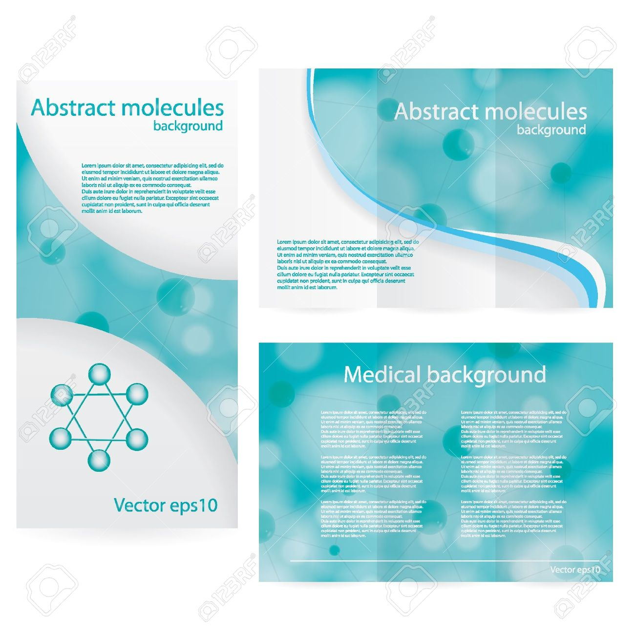 Abstract molecule blue green background Stock Vector - 20884576