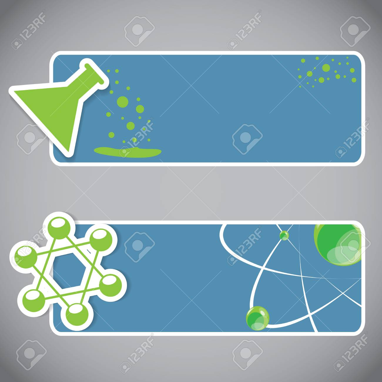 Set of chemical atomic banners or website headers Stock Vector - 22444707