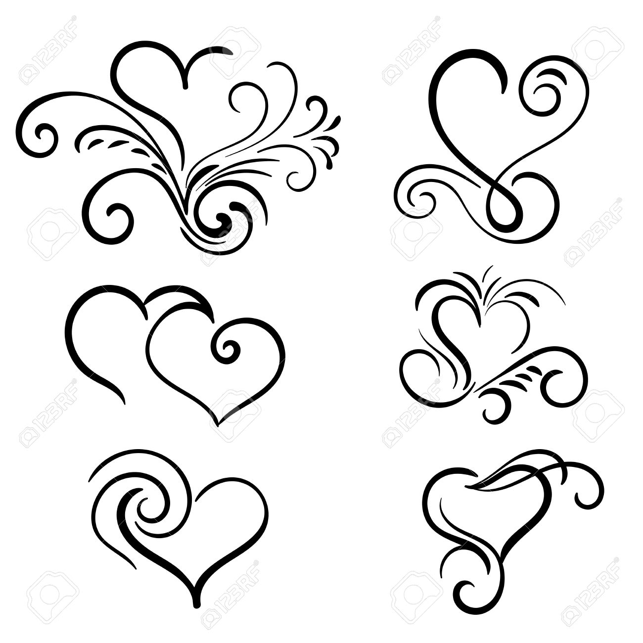 hand drawn vector swirl heart elements royalty free cliparts rh 123rf com free vector swirl download free vector swirl background