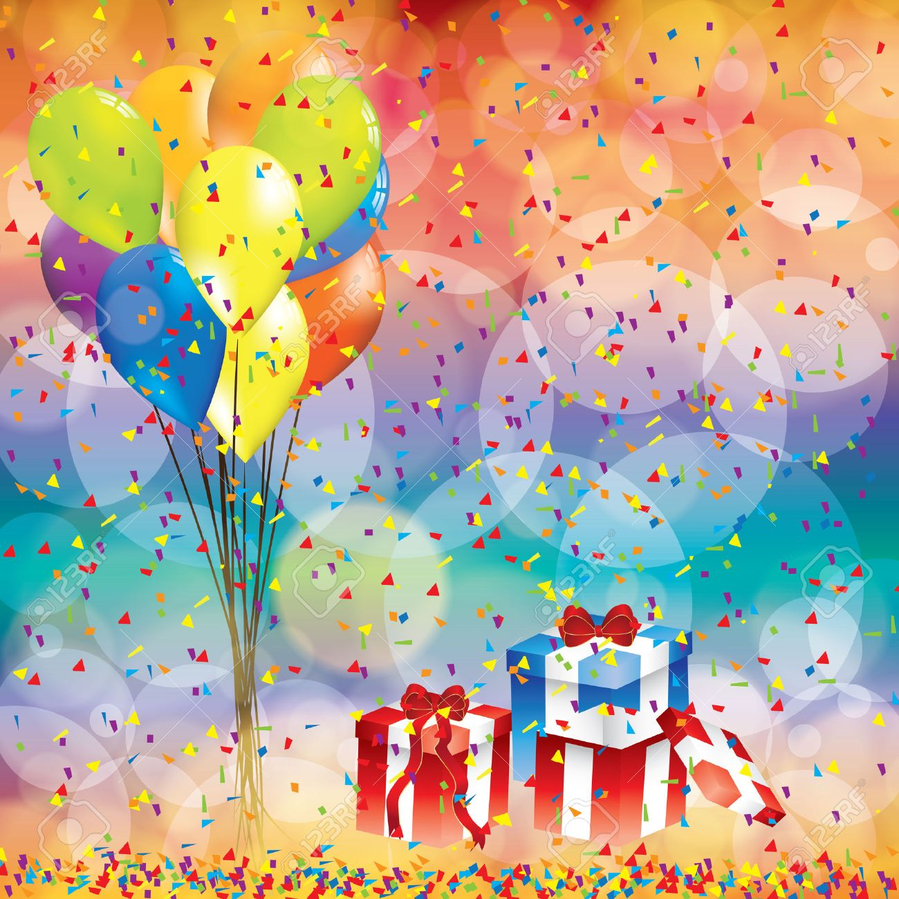 Bday background images - Happy Birthday Background With Balloon And Gifts Stock Vector 44061310
