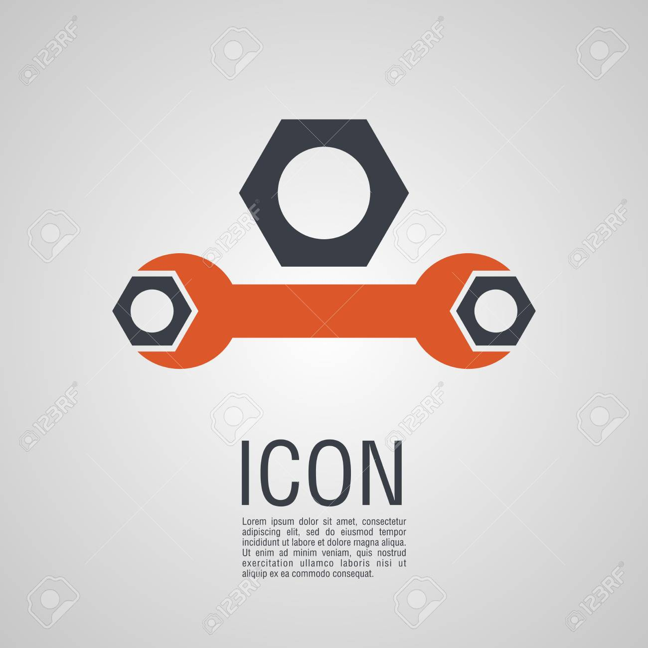 Iconos de vector en forma de llave y tuercas. Pin símbolo para el diseño de su sitio web.