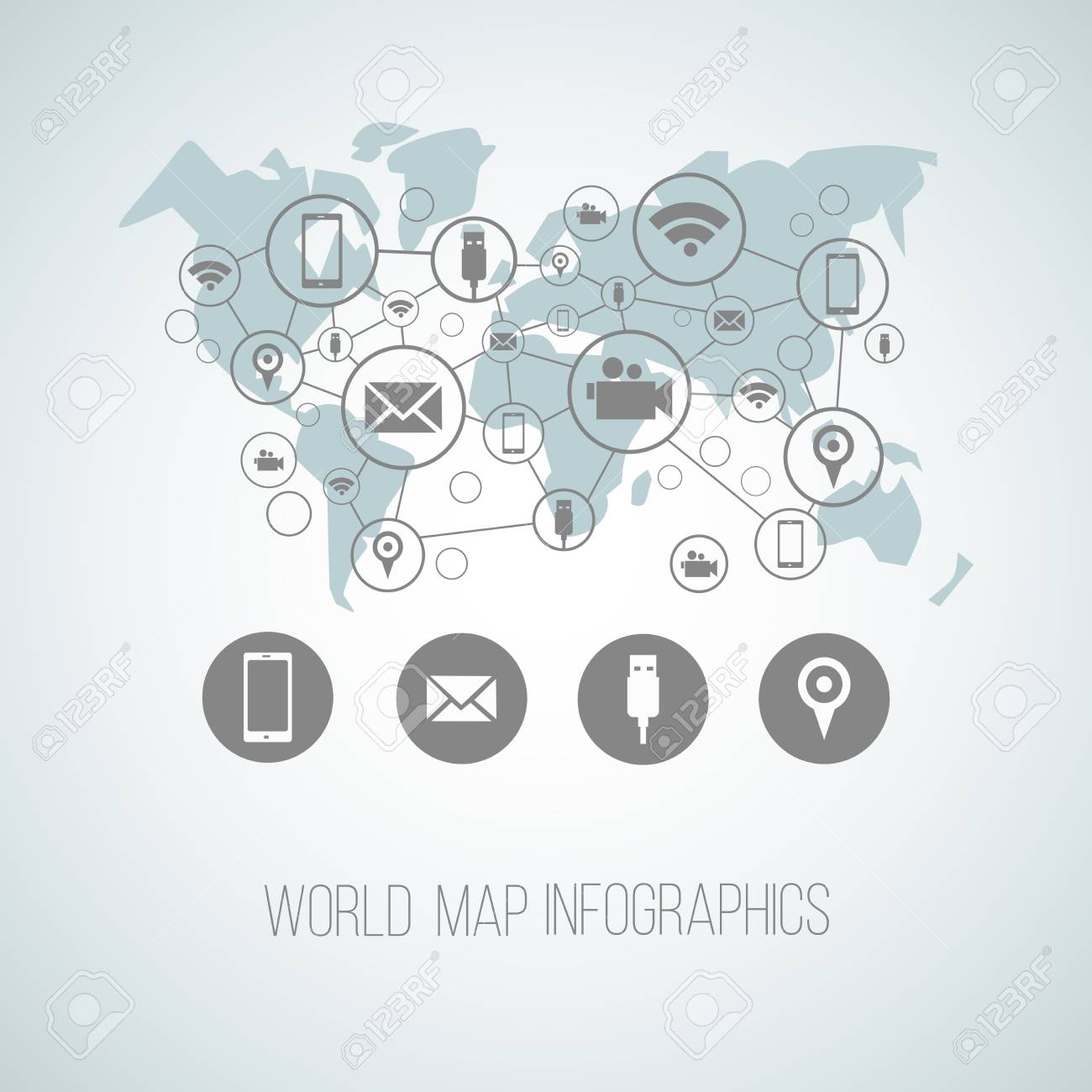 Infographics Map With Symbols And Space For Text For Presentations
