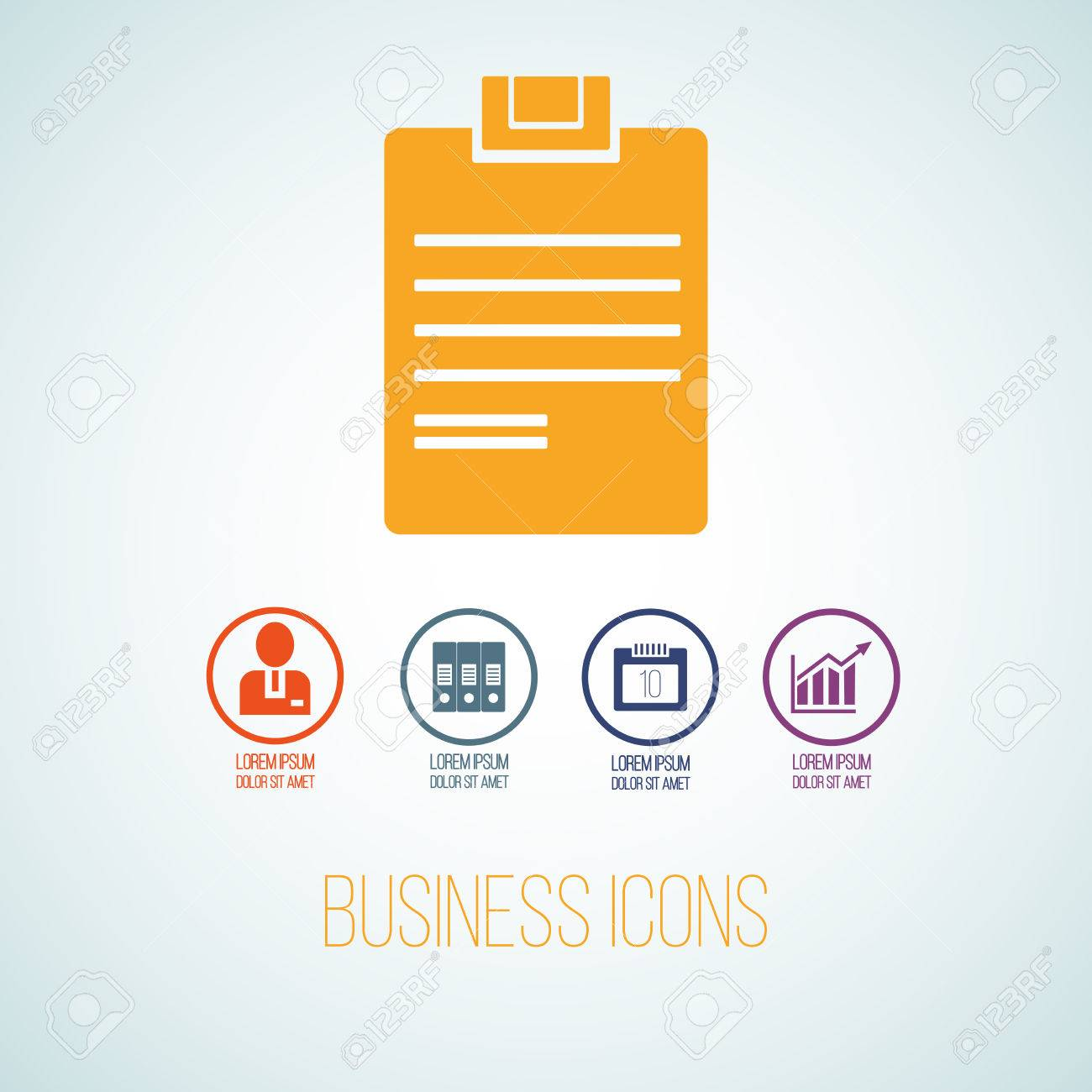 Vector Illustration Of Business Icon In The Form Of Tablet For