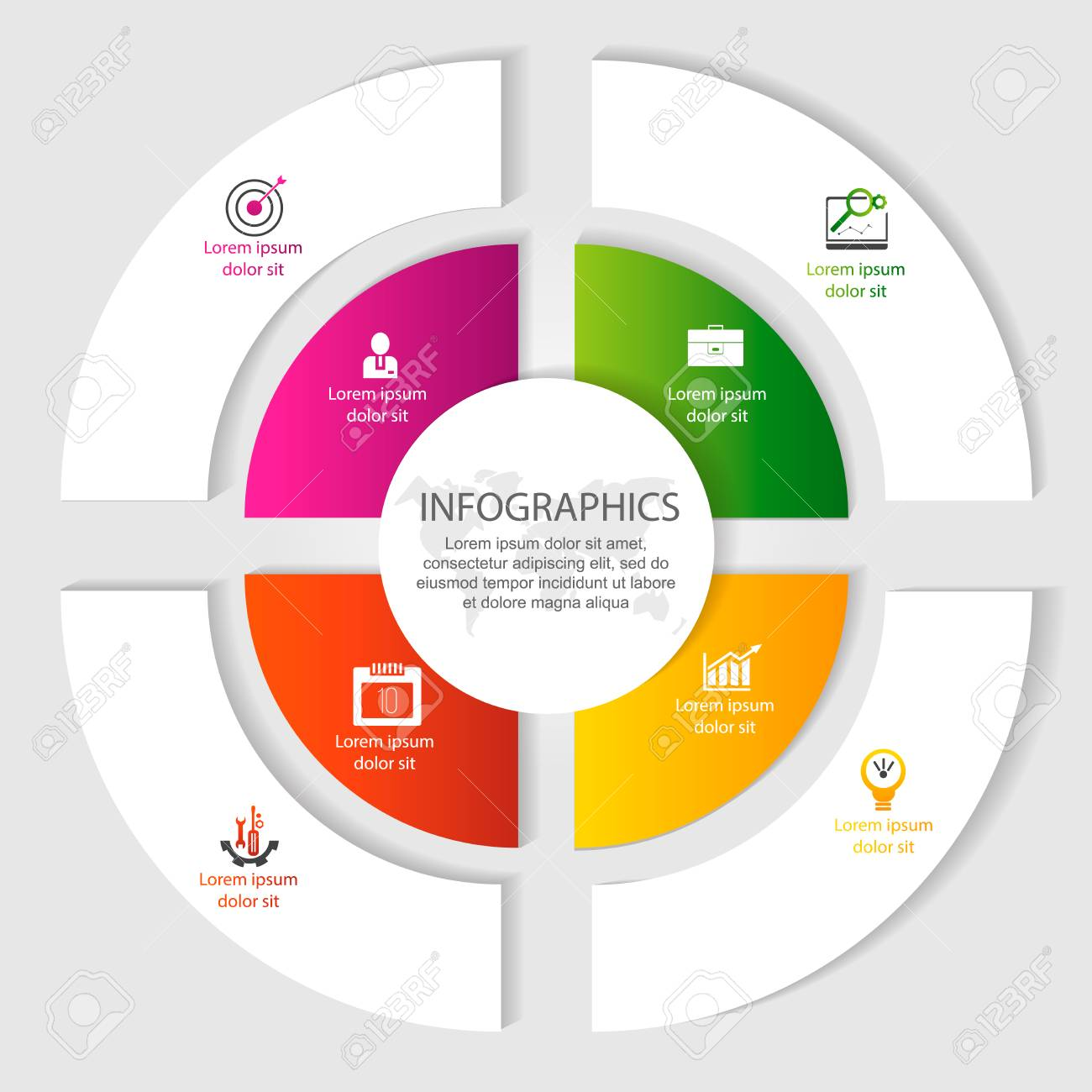 Circular Infographics Of 4 Steps Segments For Annual Reports
