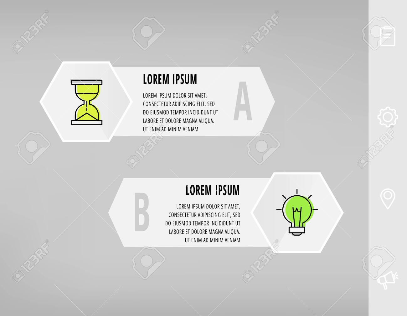 Infographics with 2 hexagons, arrows. Modern vector template. Can be used for two diagrams, business, web, banner, workflow layout, presentations, flowchart, info graph, timeline, levels, chart - 151343767