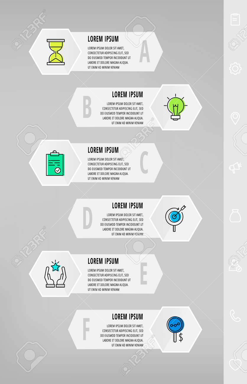 Infographics with 6 hexagons, arrows. Modern vector template. Can be used for six diagrams, web, presentations, flowchart, info graph, timeline, content, levels, processes diagram. Data visualization. - 151343726