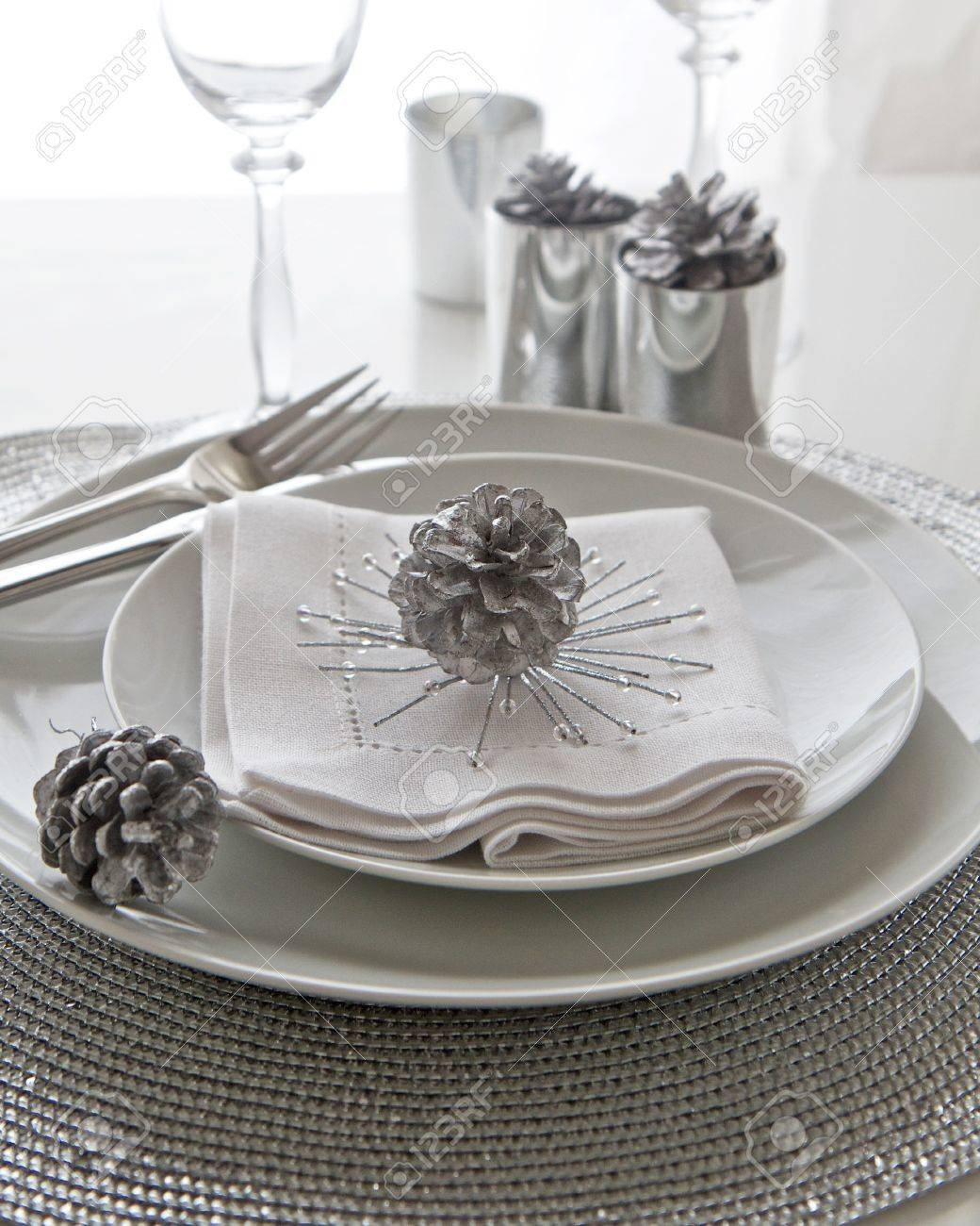 Christmas Table Setting in silver Stock Photo - 16079370