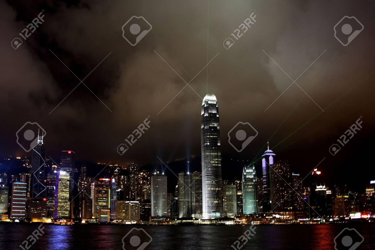 Hong Kong Island light show at Night Stock Photo - 3026678