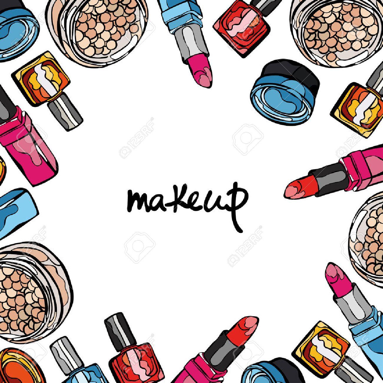 Maquillaje. Productos Cosméticos. Marco Cuadrado. Polvos Compactos ...