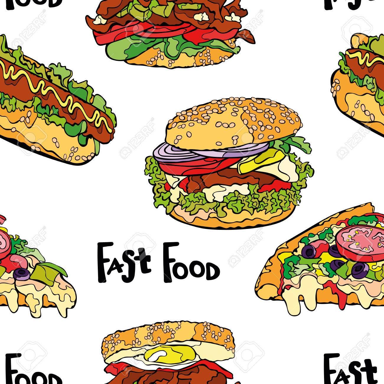 Comida Rápida. Hamburguesa, Sándwich, Pizza Y Perritos Calientes ...
