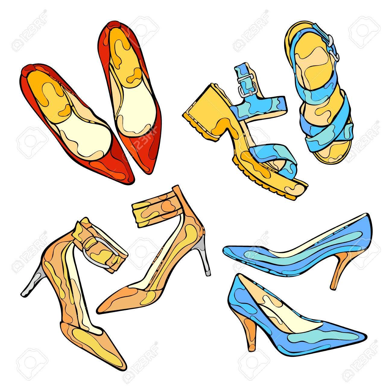 objets talons Chaussures femmeChaussures hautsvecteur à de isolé sur fond blanc 35ARjL4cq