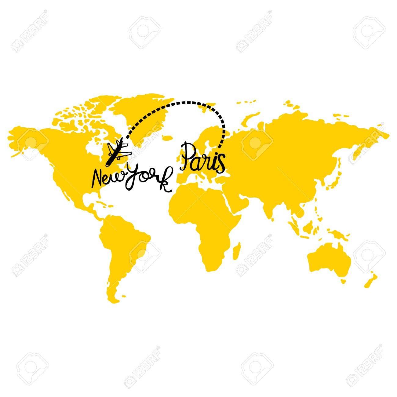 Carte Du Monde Jaune.Carte Jaune Du Monde Avion Paris Et New York Objet Vectoriel Isole Sur Fond Blanc