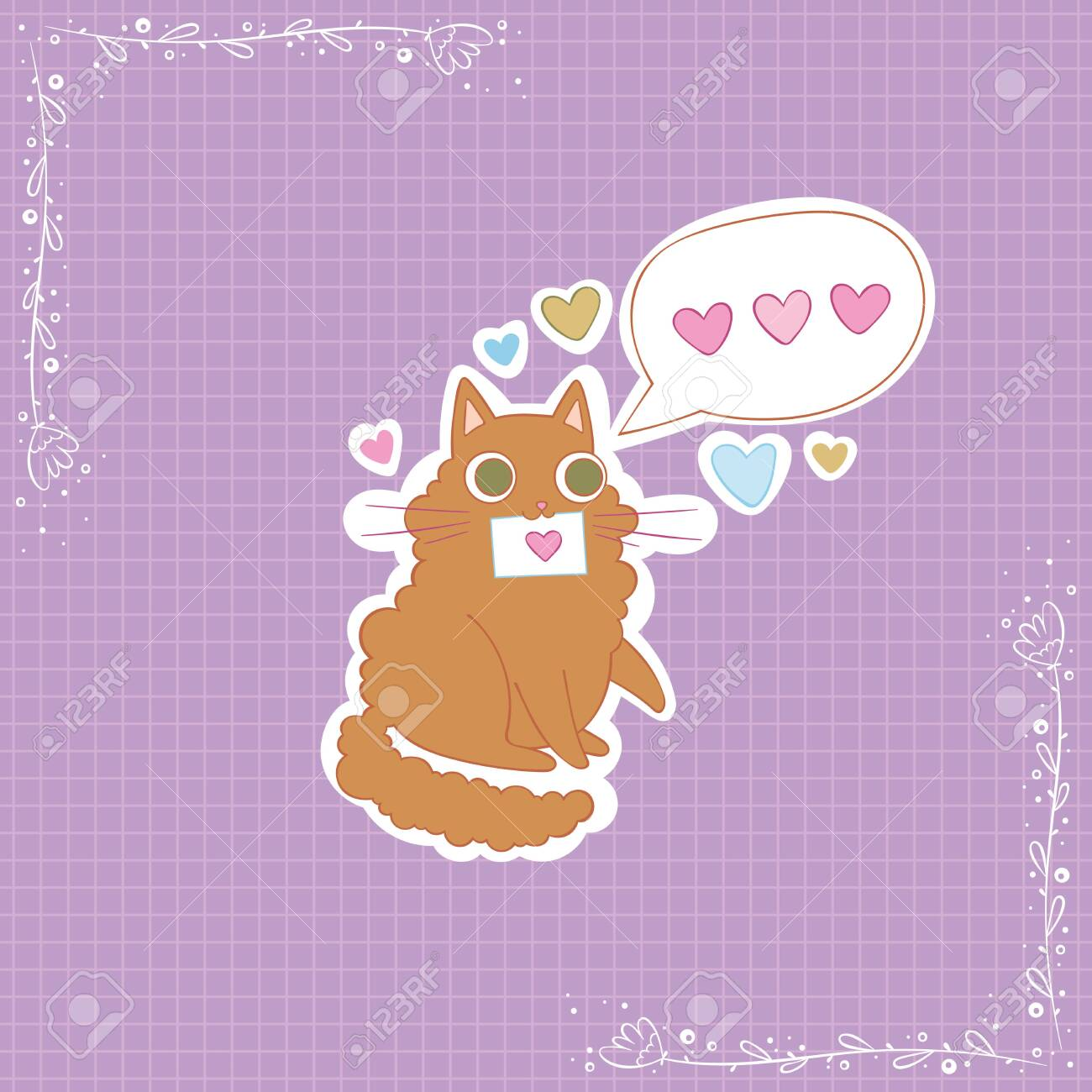 Cute cat. Love message. Hearts. Stickers Checkered background. Isolated vector objects. - 143100350