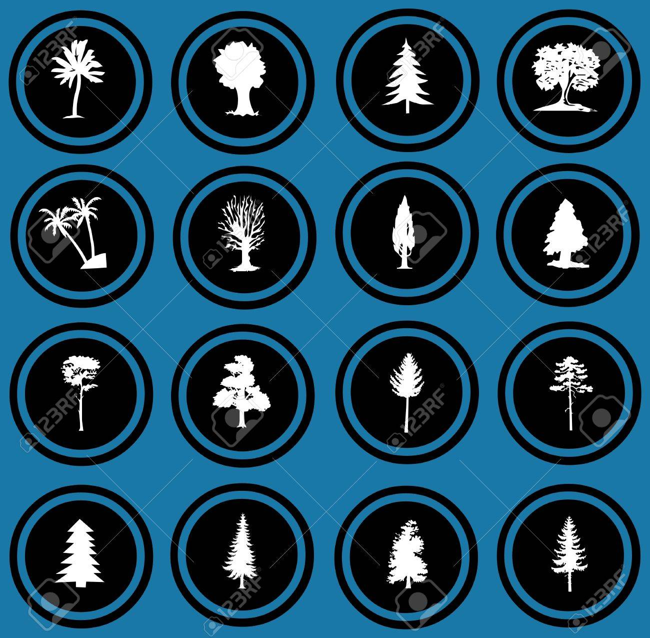 illustration of tree silhouettes  tree icons Stock Photo - 12836311