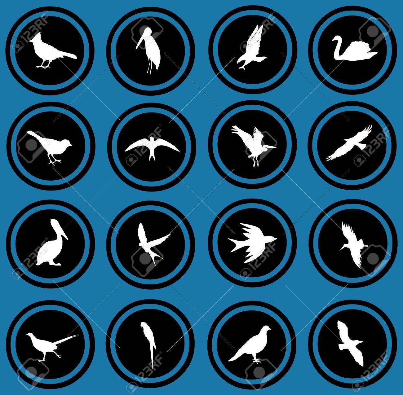 silhouettes of birds  birrds icons Stock Photo - 12836299