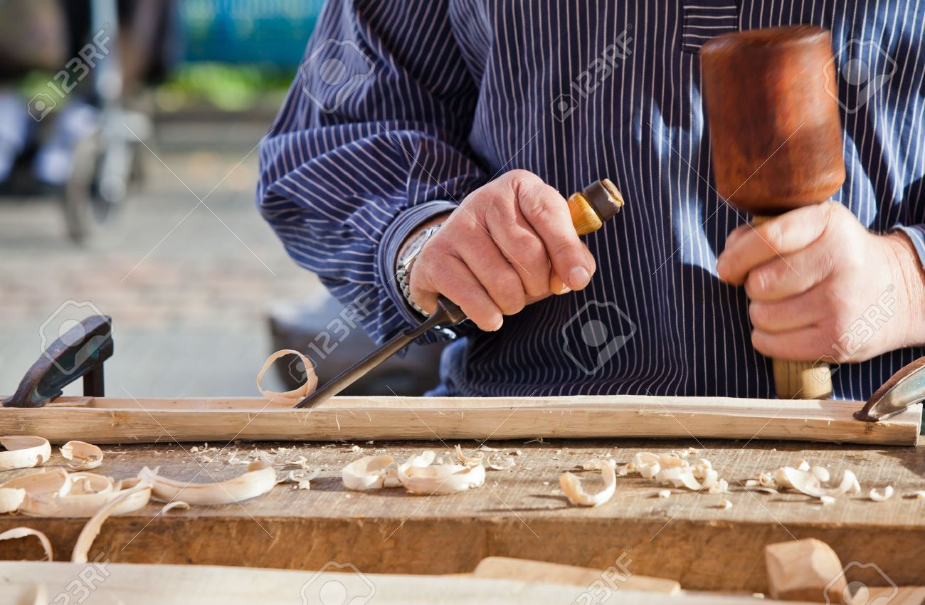 Gouge wood chisel carpenter tool. Work Of Artist. Stock Photo - 18940054
