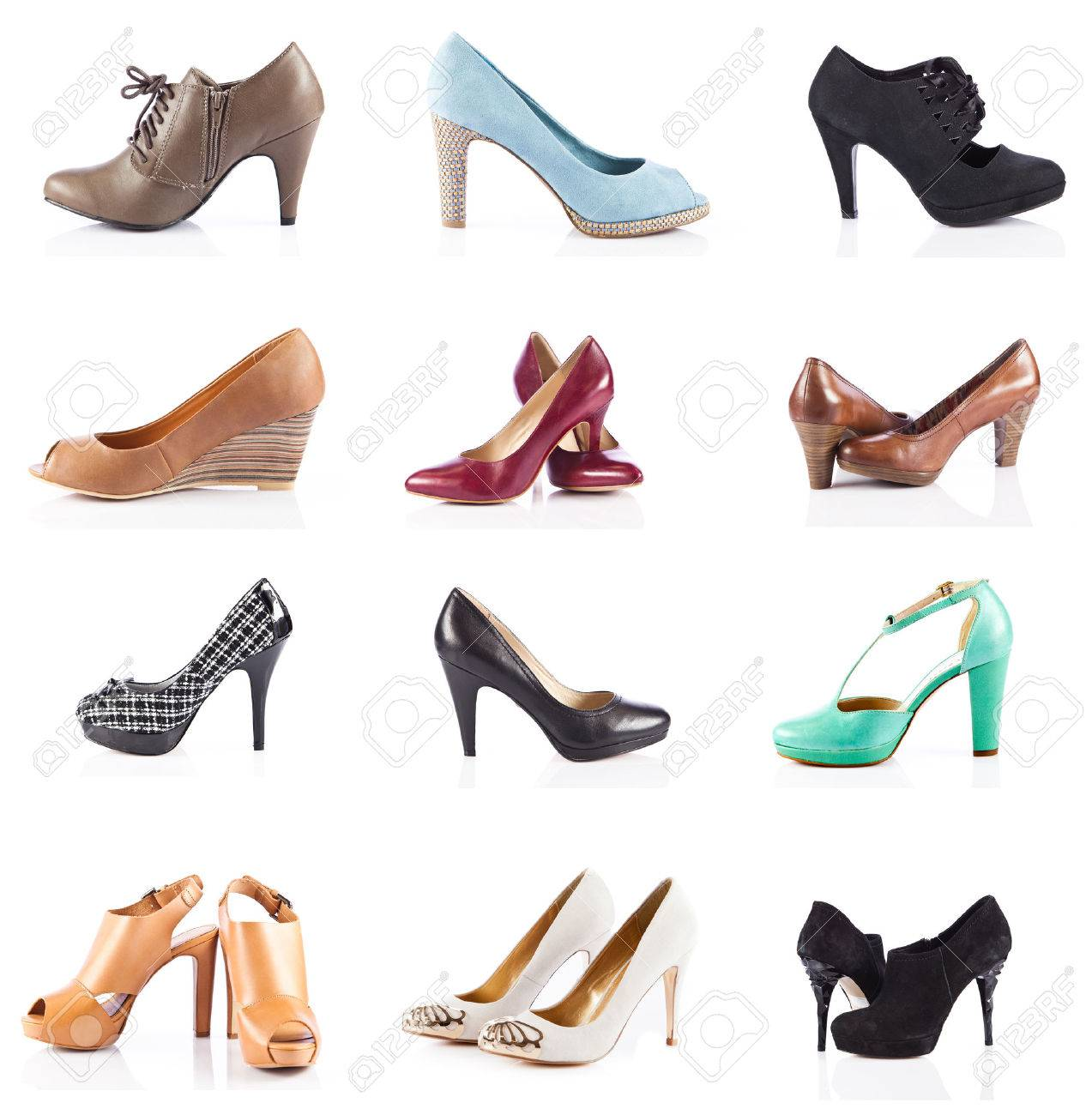 female footwear. female shoes over white. Collection of various types of female shoes - 33448118
