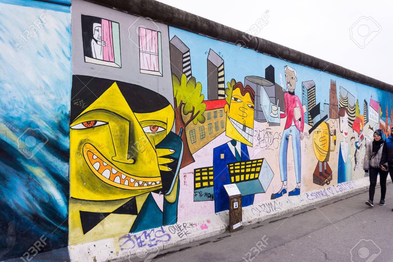 BERLIN, GERMANY - MARCH 20: Graffiti At The East Side Gallery ...