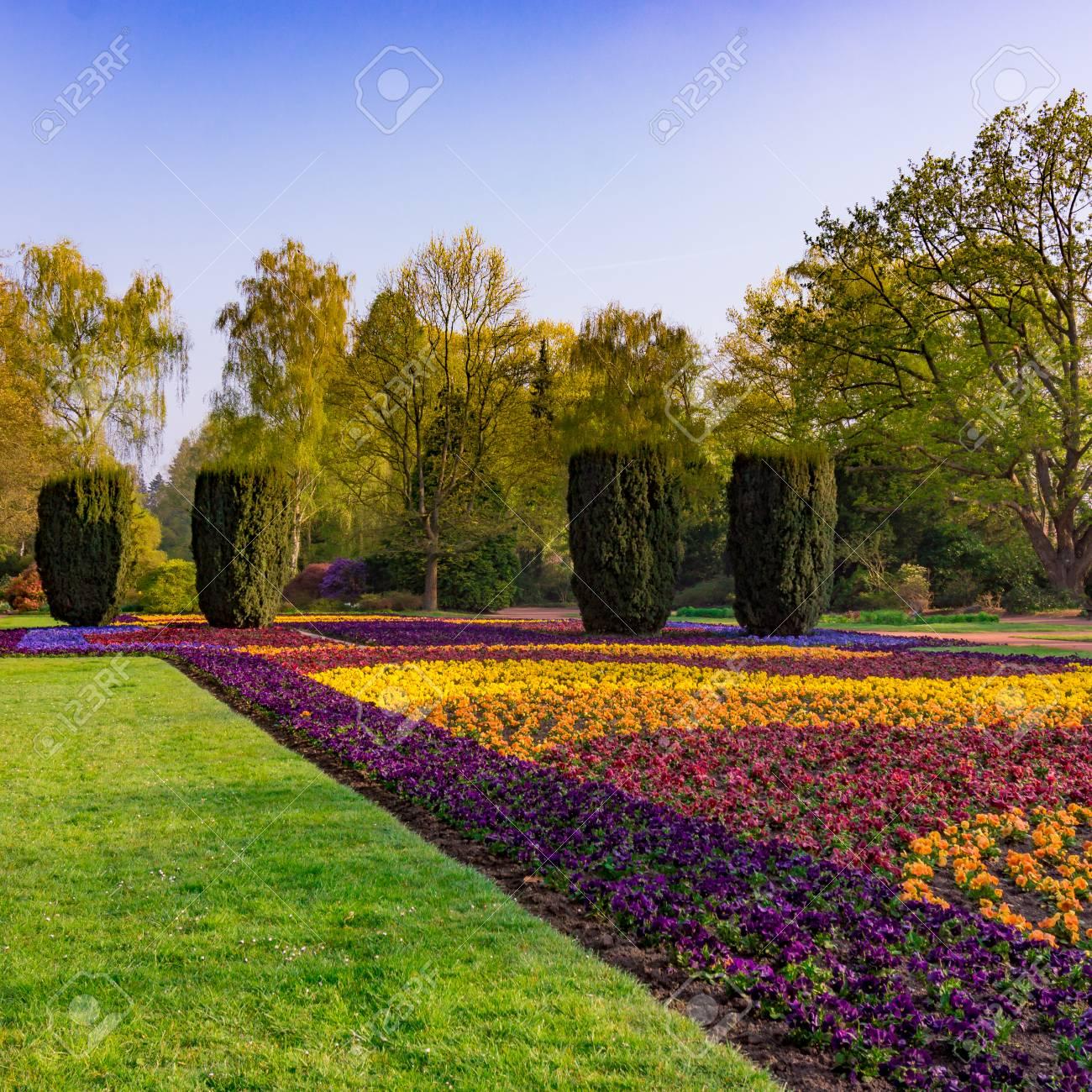 Jardin aménagé paysager. Parc. parc public