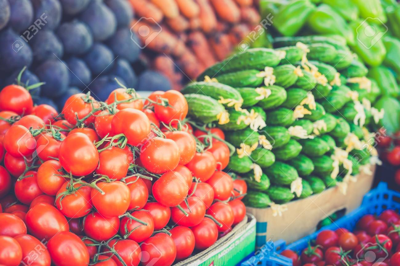 Farmers Market Vegetable Market Different Raw Vegetables Background Healthy