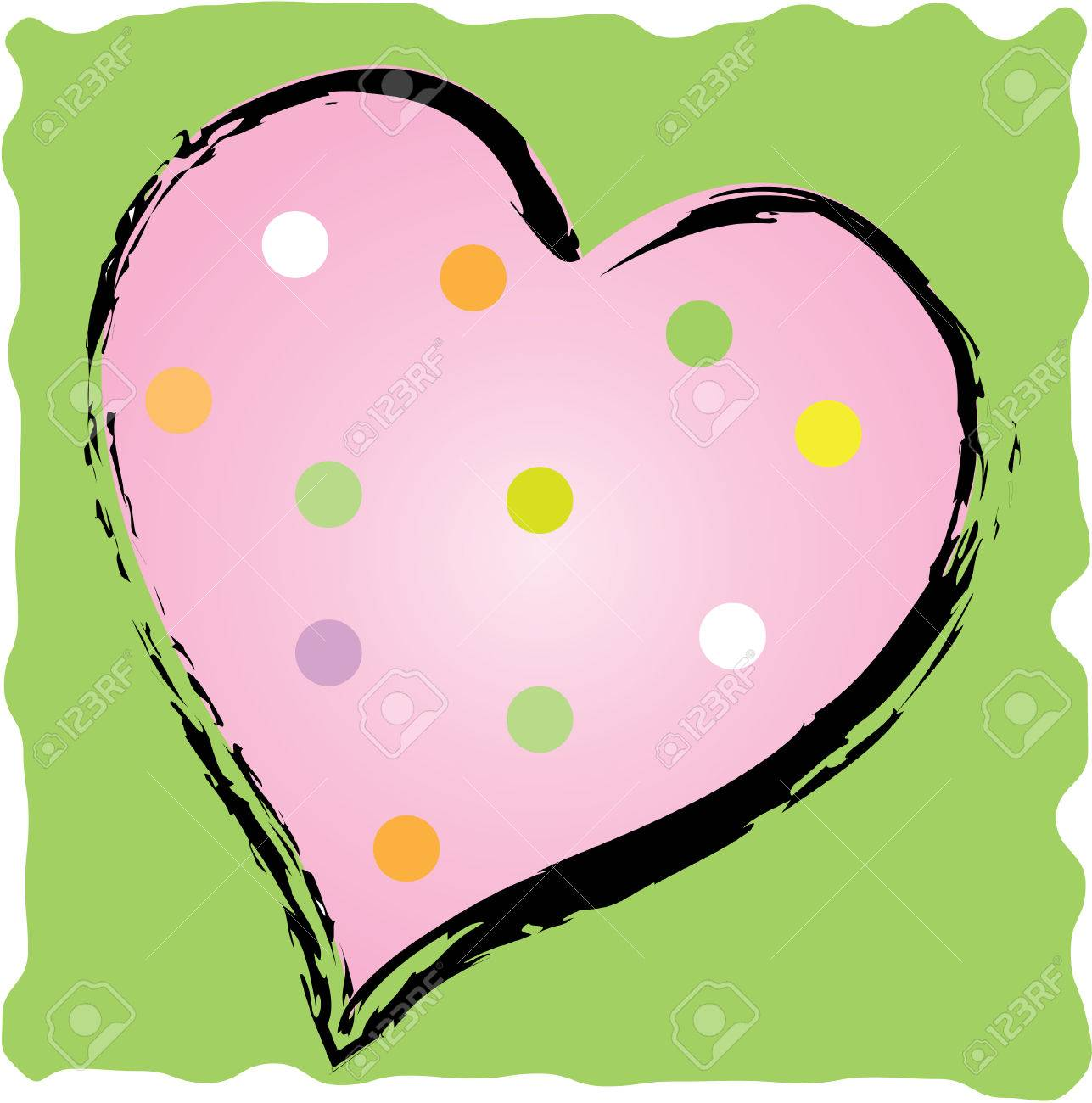 fun polkadot heart with brush stroke outline royalty free cliparts