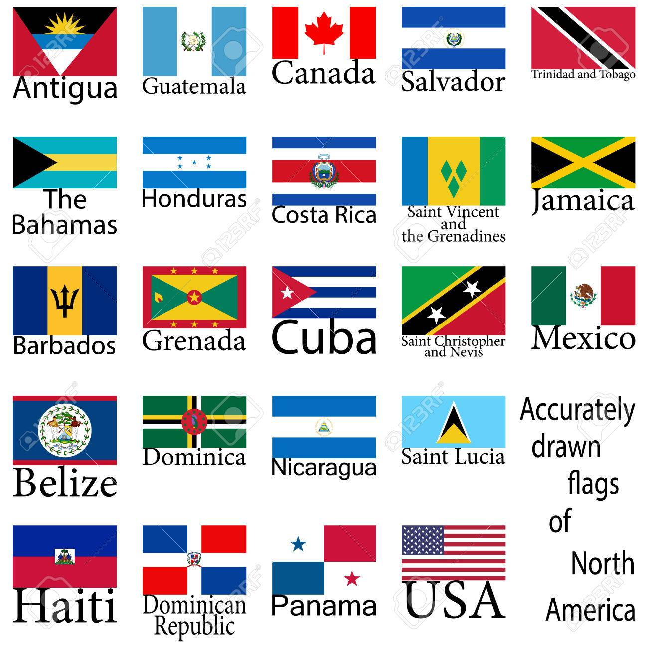 Flags Of The Countries Of North America High Level Of Drawing - What countries are in north america