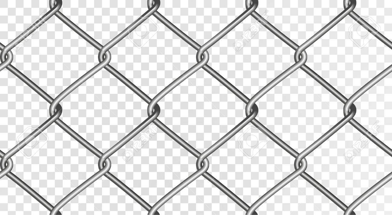 wire fence transparent. The Structure Of A Realistic Mesh Fence. Seamless Vector Fence, Isolated On Transparent Wire Fence
