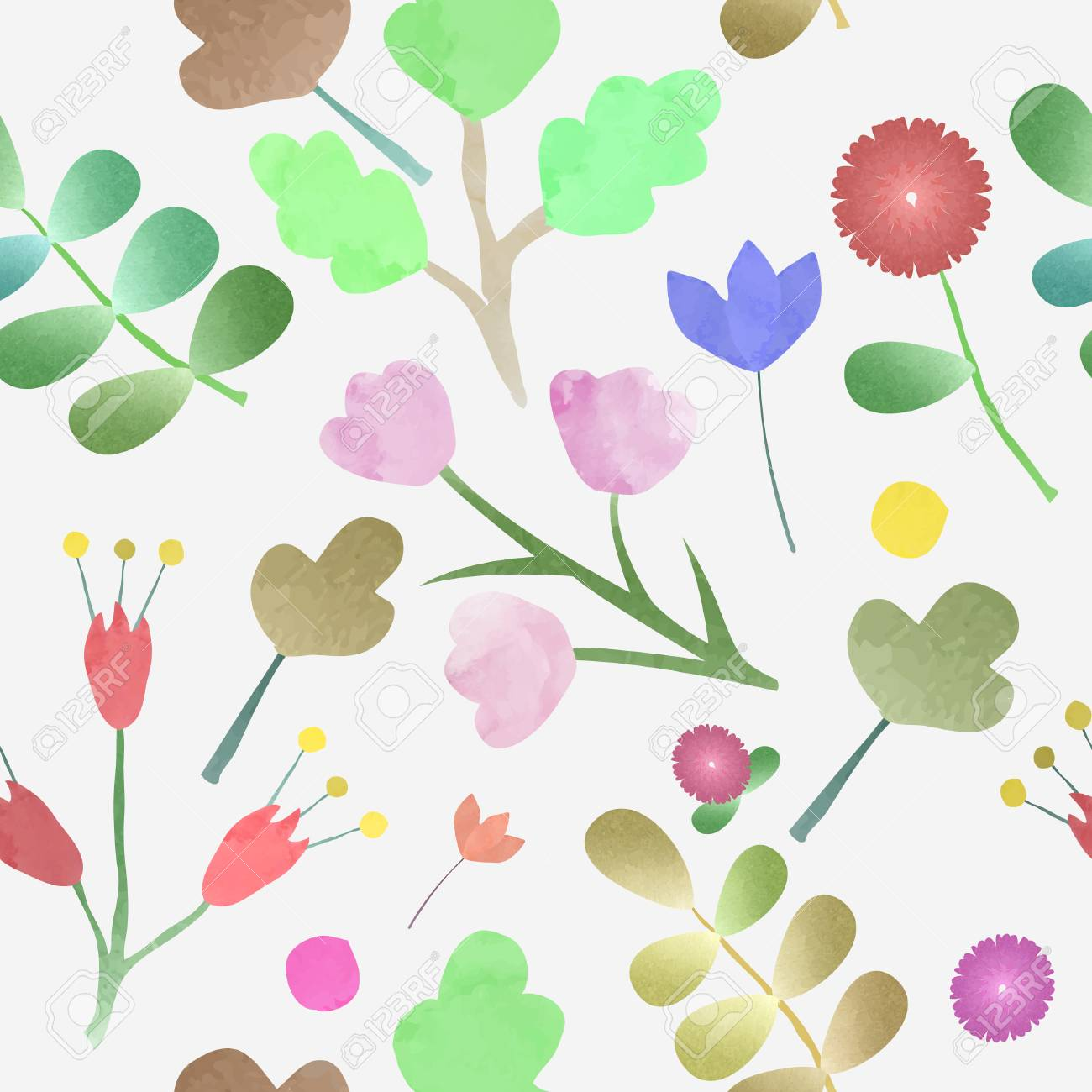 Watercolor Flower Frame Background Vector Royalty Free Cliparts
