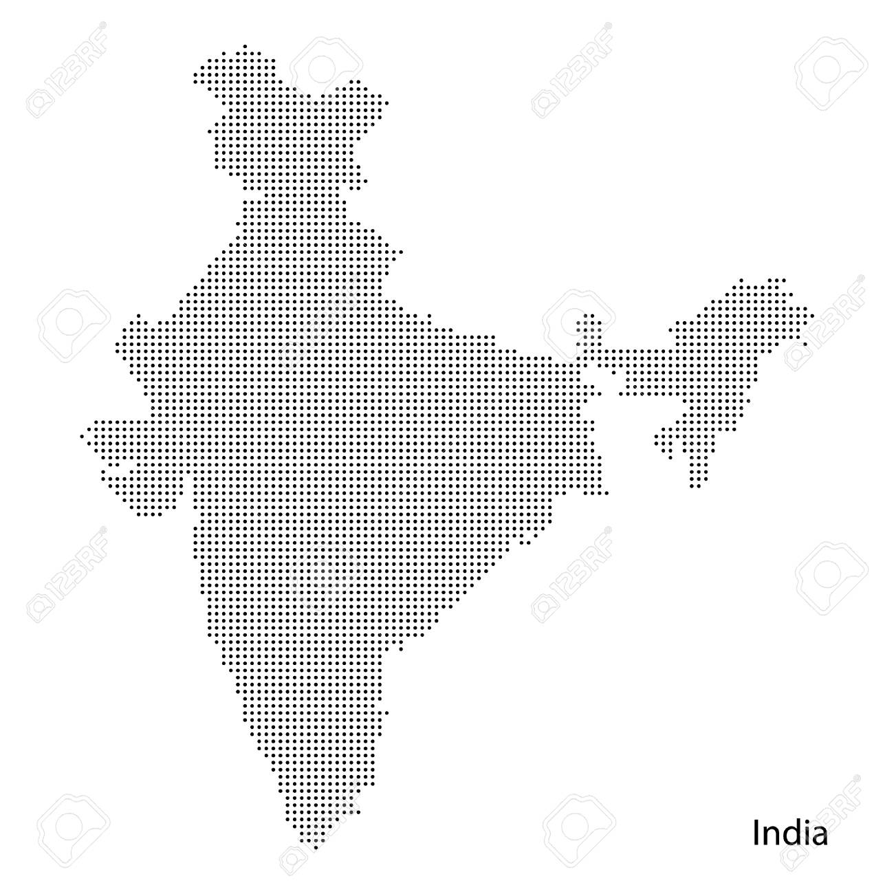 Dotted India map. Vector eps10.