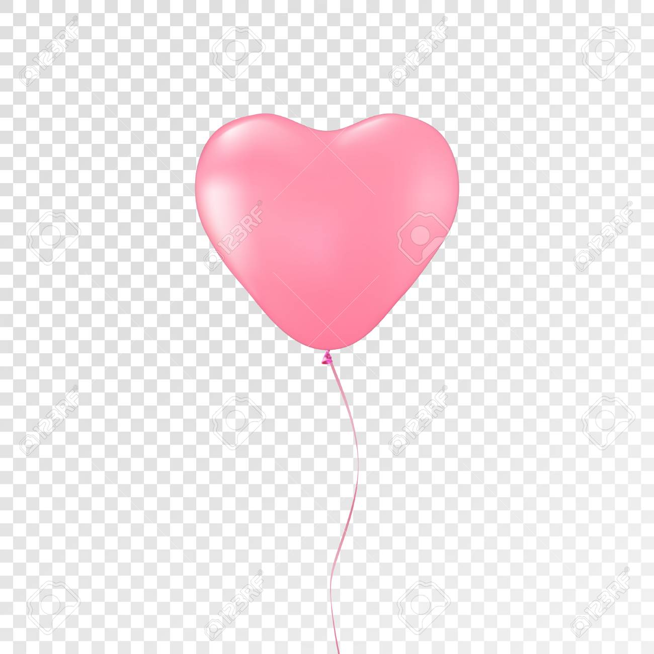 Heart Pink Balloon On Transparent Background Decorations For