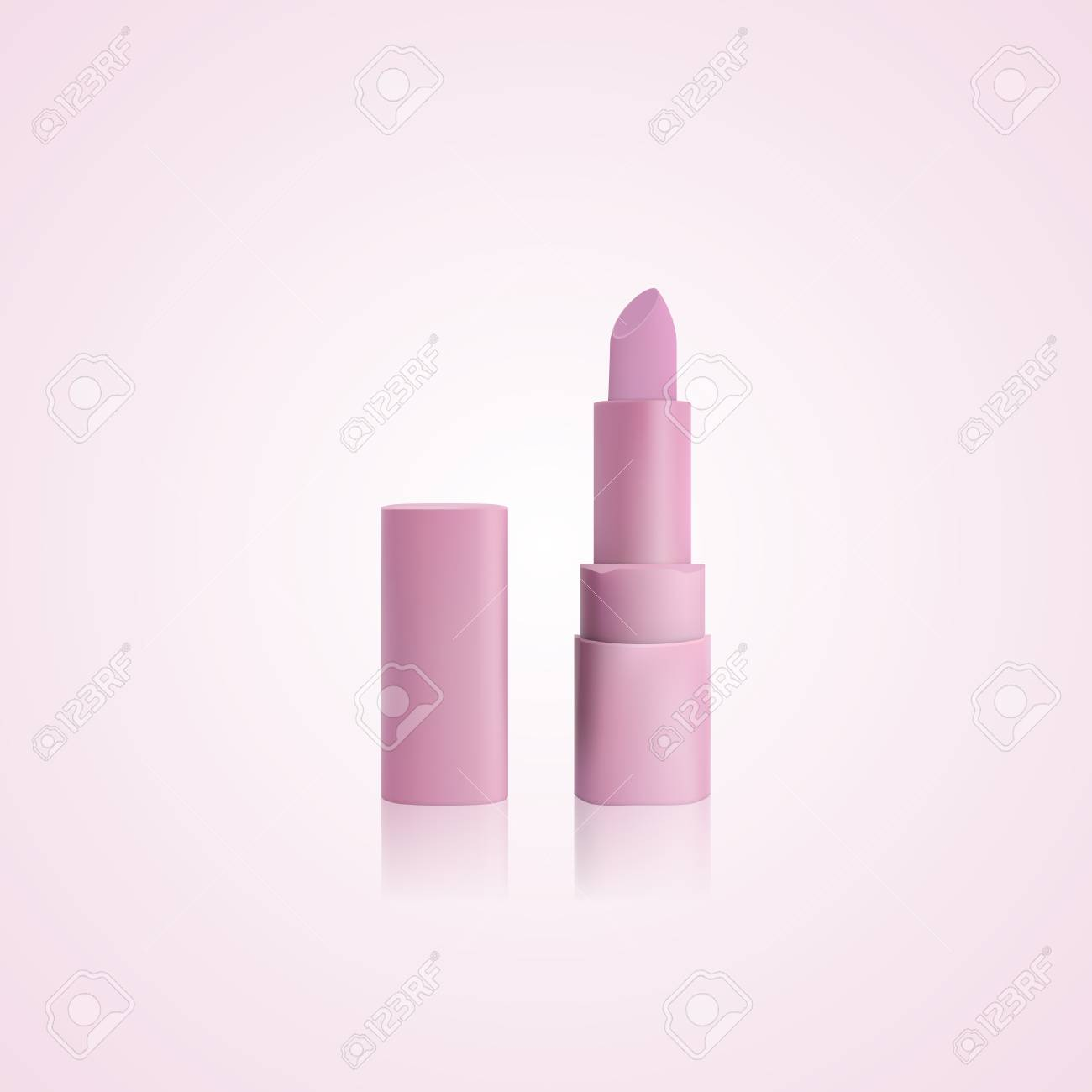 pink open lipstick with cap pink packaging mockup template