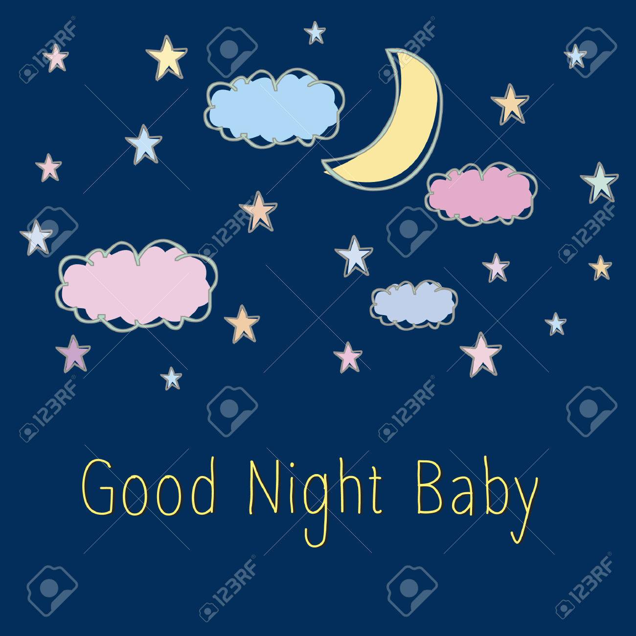 Vector With Text Saying Good Night Baby Royalty Free Cliparts