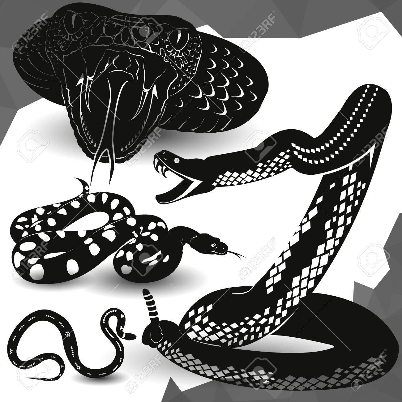 Cobra, Víbora Serpiente De Cascabel Icono Ilustración Vectorial ...