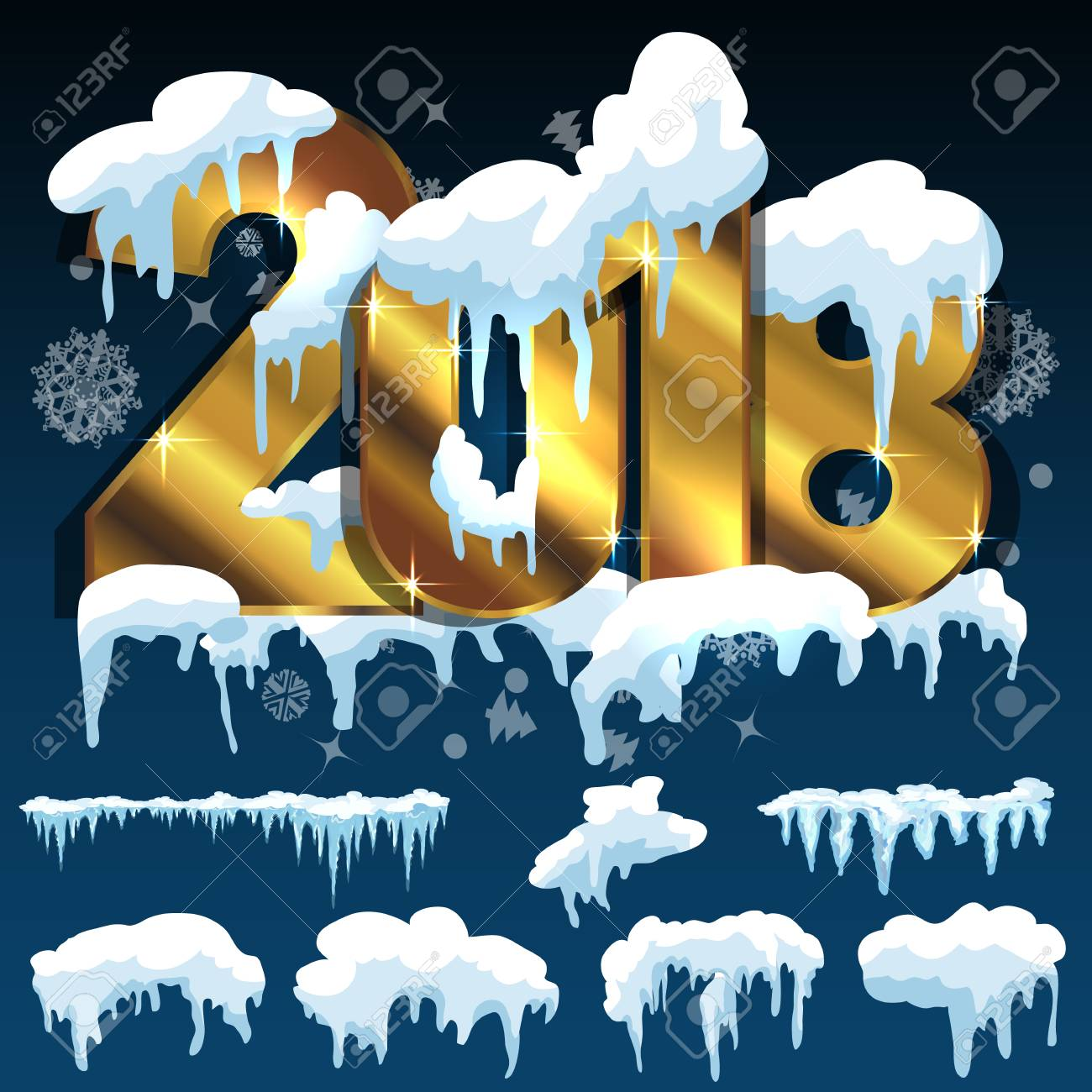 new year frozen ice texture text 2018 snow ice icicle set winter design white blue snow template snowy