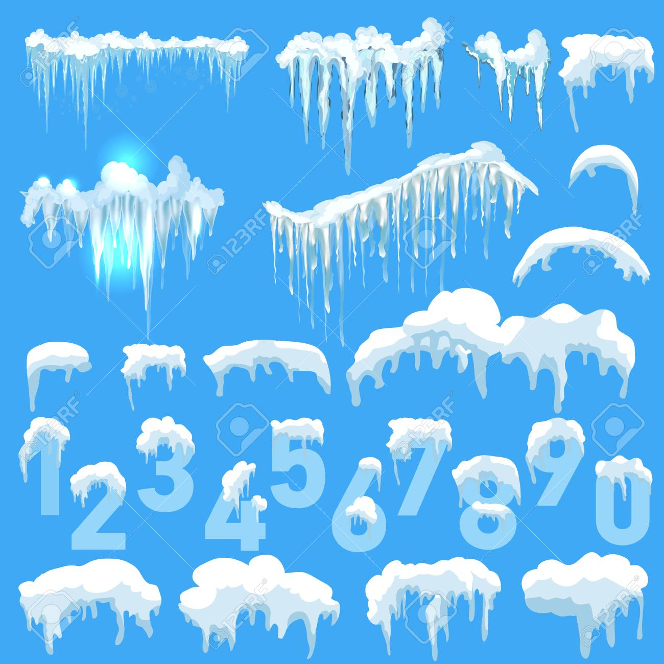 text 2018 snow ice icicle set winter design white blue snow