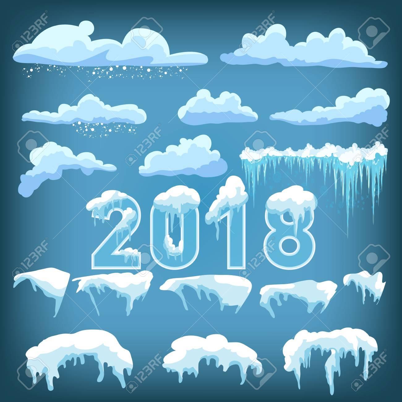 text 2018 snow ice icicle set winter design white blue snow