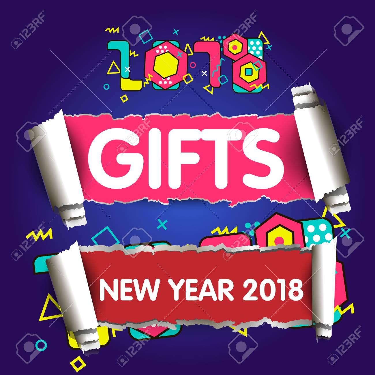 Stylish Greeting Card Happy New Year 2018 Trendy Geometric Stock