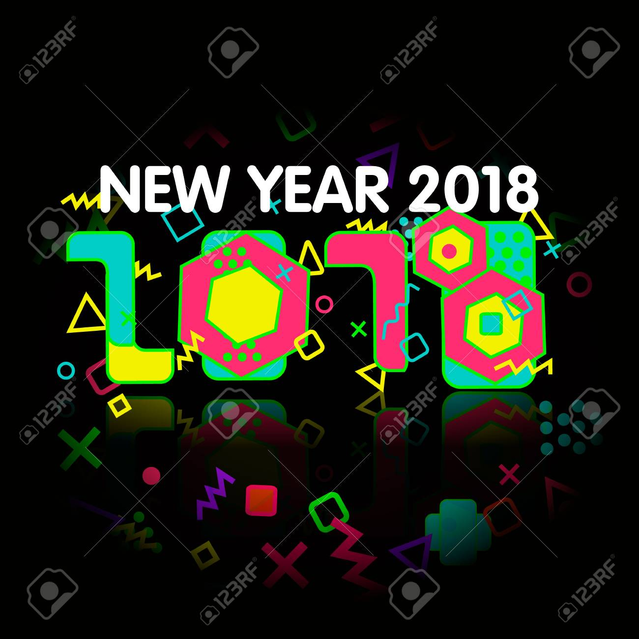 stock photo stylish greeting card happy new year 2018 trendy geometric font in memphis style of 80s 90s digits and abstract elements