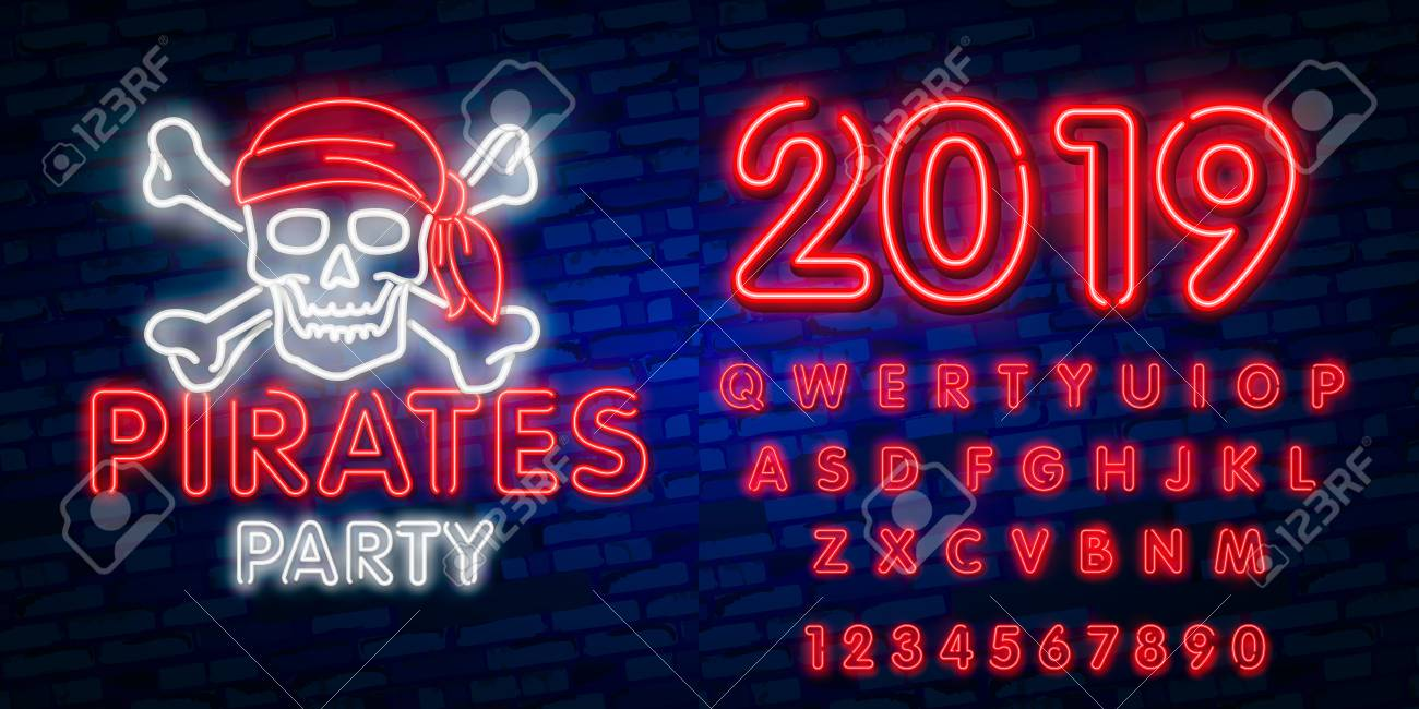 pirates party neon text vector pitate neon icon design template
