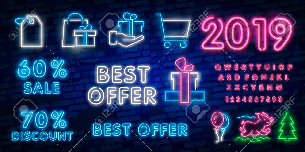 Black Friday Sale Neon Sign Neon Banner Background Brochure Royalty Free Cliparts Vectors And Stock Illustration Image 123998533