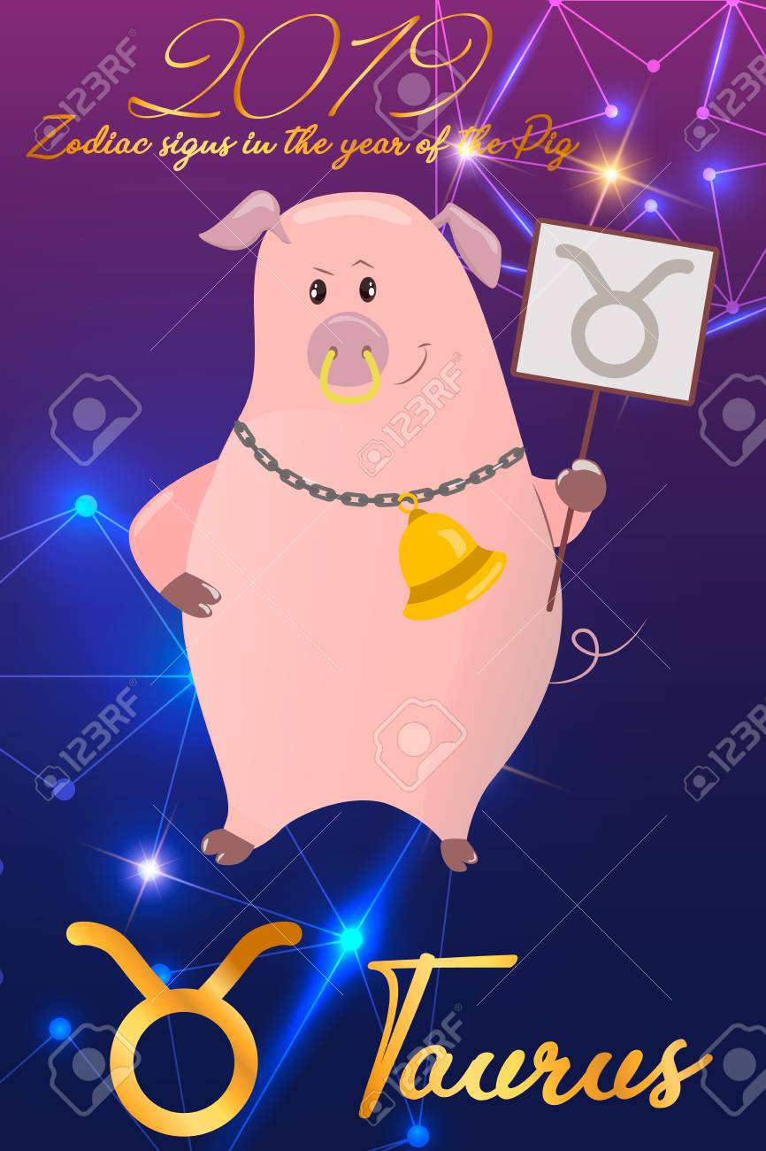 Zodiac sign Taurus  2019 year of the pig  Piglet with horns