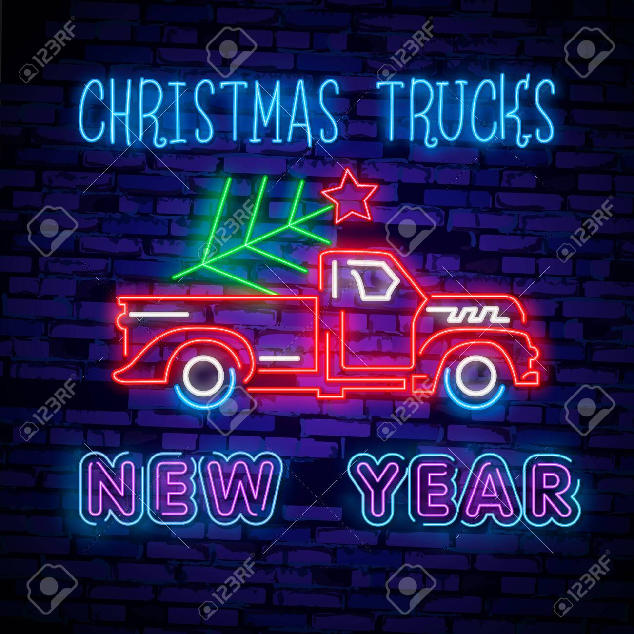 Christmas Red Truck.Christmas Truck Vintage Vector Illustration Christmas Red Truck