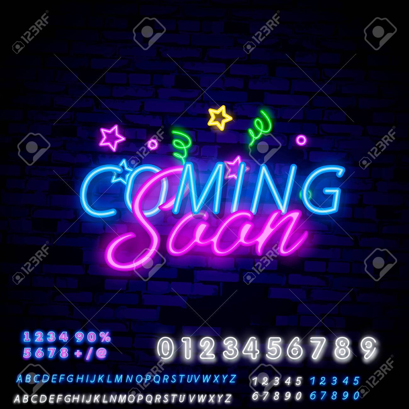 Coming Soon Neon Sign Vector With Brick Wall Background Coming Royalty Free Cliparts Vectors And Stock Illustration Image 120284264