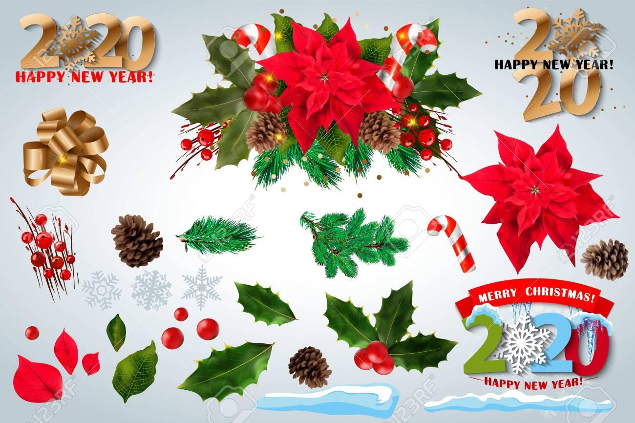 Christmas Flowers 2020 Red Poinsettia Vector Flowers Set. 2020 Christmas Symbols
