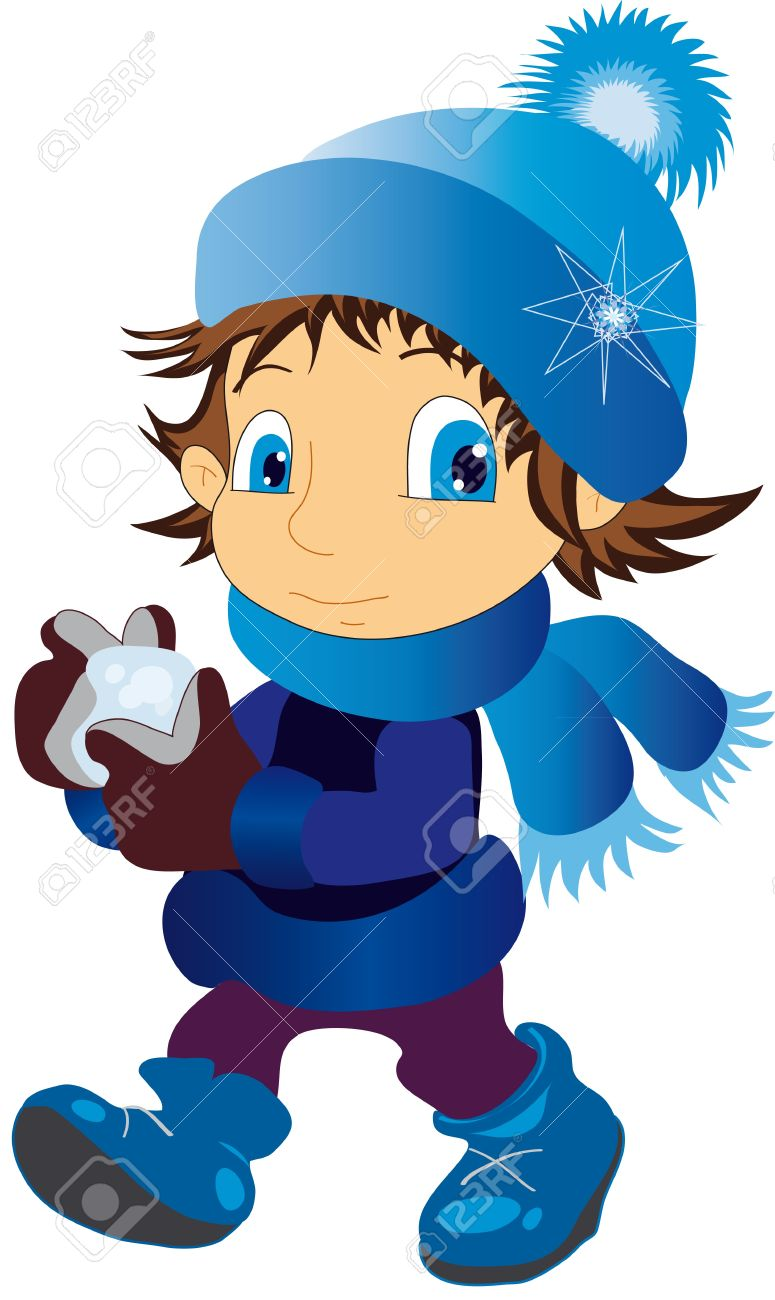 illustration shows a child wearing a cap throwing snowballs Stock Vector - 8312615