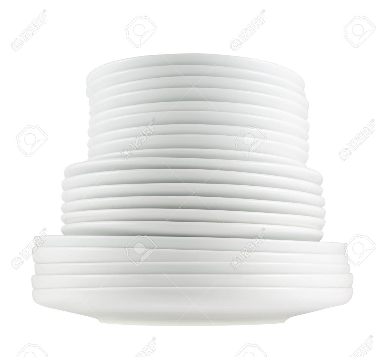Accurate pile stack of the round ceramic white dish plates isolated over white background side  sc 1 st  123RF.com & Accurate Pile Stack Of The Round Ceramic White Dish Plates Isolated ...
