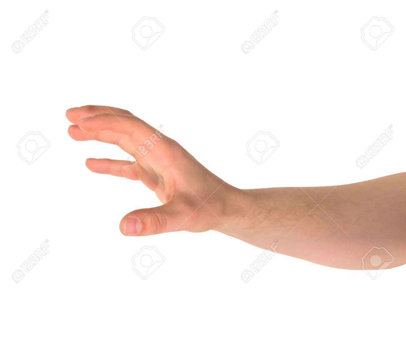reaching out and grabbing caucasian hand gesture isolated over