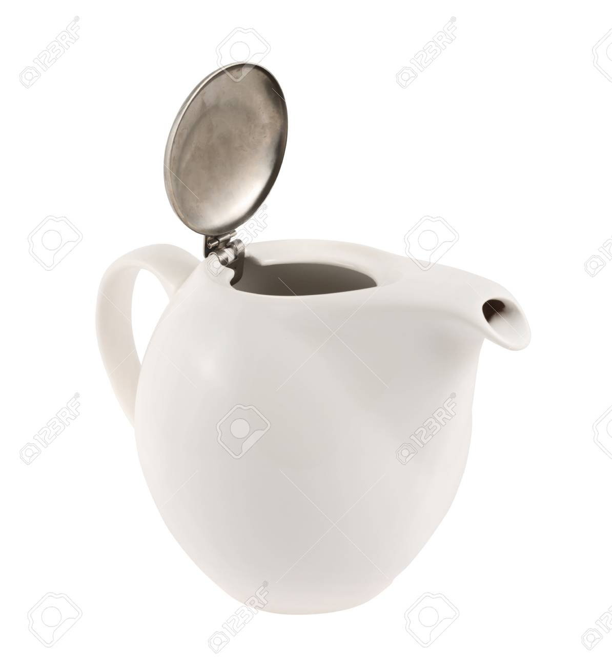 Ceramic teapot with a metallic cover lid isolated over white background Stock Photo - 20225755