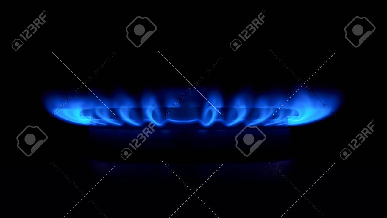 gas stove flame. Gas Stove As A Blue Fire Lights In The Dark Stock Photo - 21021155 Flame G