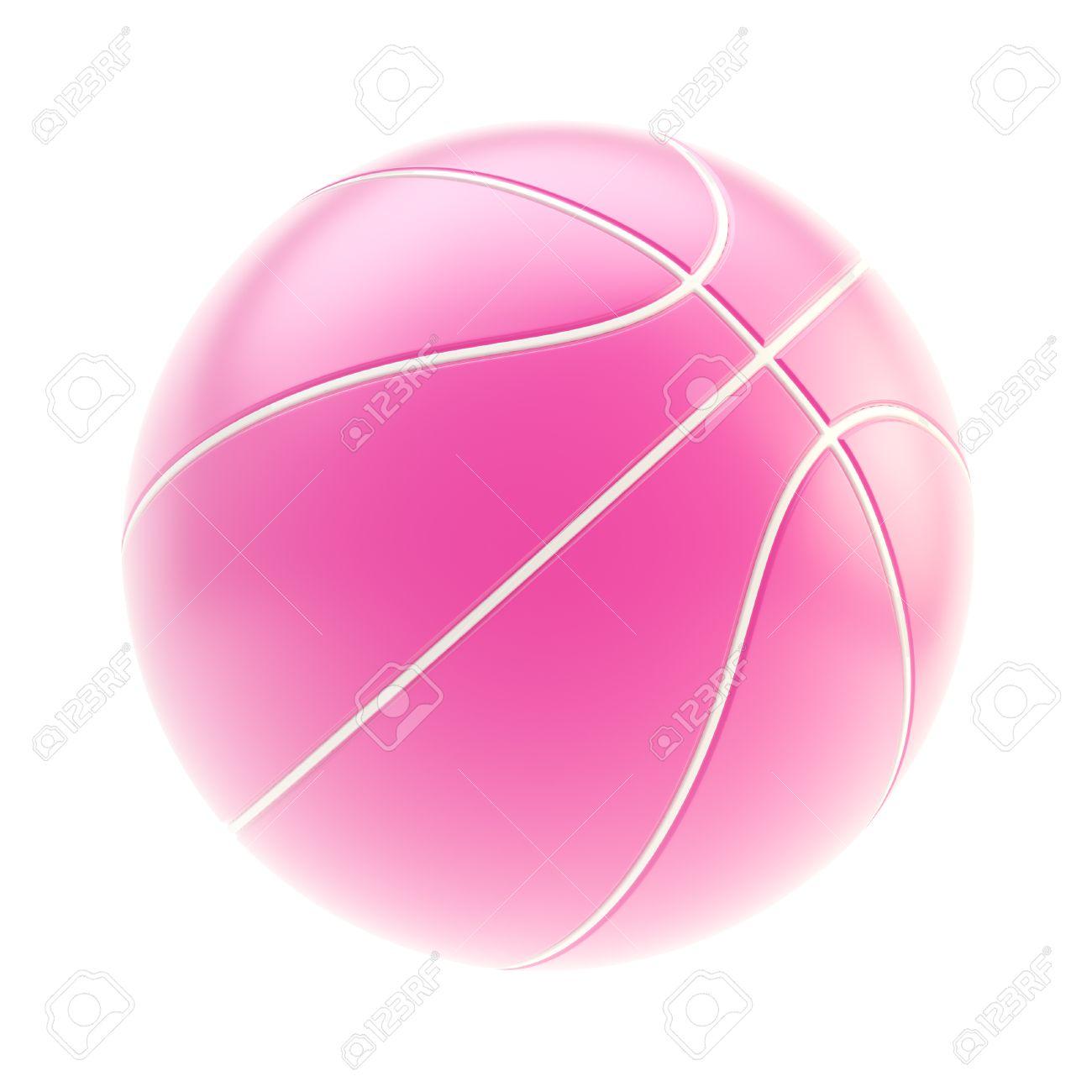 8e5109c5198f1 Banque d'images - Brillant rose ballon de basket rendu 3d, isolé sur fond  blanc